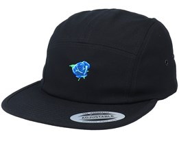 Tiny Blue Rose Black 5-Panel - Iconic