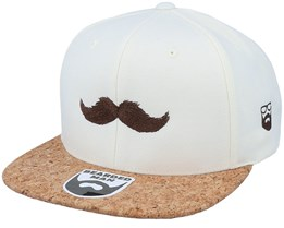 Brown Moustache Movember Natural/Cork Snapback - Bearded Man