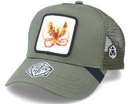 Phoenix Fire Bird D20 Patch Olive Trucker - Critiql Hit