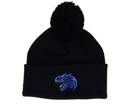 Kids Blue Dinosaur Logo Black Pom - Kiddo Cap