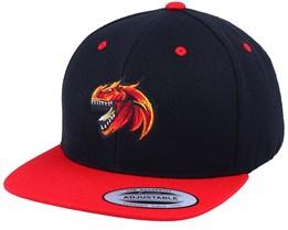 Kids Red Dinosaur Logo Black/Red Snapback - Kiddo Cap