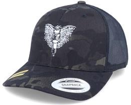 Spark Plug Angel Emblem Multicam Black Trucker - Born To Ride