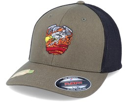 Recycled  Engine Olive/Black Flexfit Trucker - Born To Ride