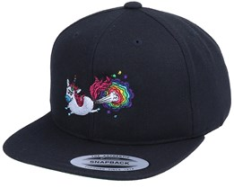Kids Rainbow Farting Unicorn Black Snapback - Unicorns