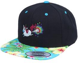 Rainbow Farting Unicorn Black/Hawaiian Snapback - Unicorns