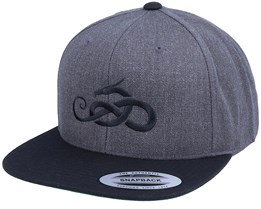 Jormungandr Charcoal Grey/Black Snapback - Vikings