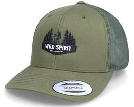 Forest Walker Logo Olive Trucker - Wild Spirit
