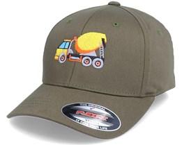 Kids Concrete Mixer Truck Olive Flexfit - Kiddo Cap