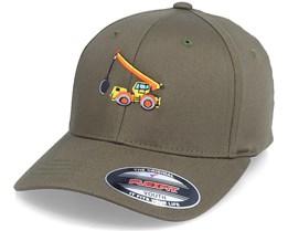 Kids Wrecking Truck Olive Flexfit - Kiddo Cap