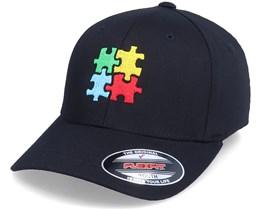 Kids Puzzle Pieces Black Flexfit - Kiddo Cap