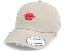 Red Lips Khaki Ripped Dad Cap - Iconic