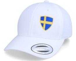 Sweden Flag Shield Curved White Adjustable - Forza